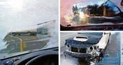 Bilder, wie sie die Luzerner Polizei in den letzten Jahren immer wieder antraf: Weil die Autofahrer durch die Scheiben kaum etwas sehen (links oben), kommt es zu vielen Unfällen (unten). (Bild: PD)