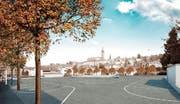 So könnten die oberirdischen Parkplätze in Ruswil künftig angeordnet werden. (Bild: Visualisierung PD)
