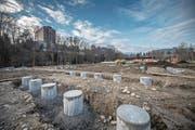 Die Fundamente für die Gartenhäuschen sind bereits erstellt. (Bild: Pius Amrein (Luzern, 31. Januar 2018))