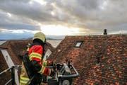 Die Freiwillige Feuerwehr Zug (FFZ) im Einsatz am Mittwoch nach dem Sturm Burglind. (Bild: FFZ)