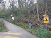Die Tafel mit dem Hinweis auf möglichen Steinschlag beim Tribschenhornweg wurde im Herbst 2016 montiert. (Bild: pd)