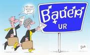 Rückkehr möglich, es droht vorläufig kein Amtszwang mehr: Seit Montag ist der Gemeinderat Bauen wieder komplett. (Karikatur Jals/Neue LZ)