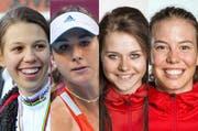 Sind aus der Zentralschweiz für den 33. Sporthilfe Nachwuchs-Preis nominiert: Alessandra Keller, Belinda Bencic, Corinne Suter und Michelle Gisin. (Bild: PD / Keystone / Corinne Glanzmann)