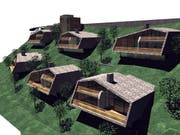 So sollen die luxuriösen Ferienhäuser am Brunni-Hang einmal aussehen. (Visualisierung pd)