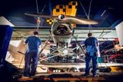 Das dreisitzige, einmotorige Flugzeug war eines von zwei beteiligten Maschinen der Schweizer Luftwaffe.... (Bild: Photopress / Gregor Kaluza)