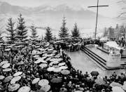 Über 5000 Obwaldner pilgerten am 20. März zu Bruder Klaus ins Flüeli, um für die Abwendung der Erdbebengefahr zu beten. (Bild: Keystone)