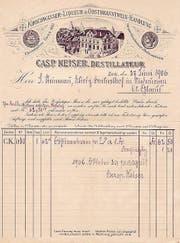 Briefpapier «Kirschwasser-Liqueur- & Obstbranntwein-Handlung, Casp. Keiser, Destillateur», 27. Juni 1906: Man warb für gute Kirschwasser. (Bild: Privatarchiv Oskar Rickenbacher, Zug)