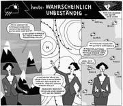 Die Wetterprognose ist in der «Neuen Sequenziellen» zuverlässig unzuverlässig. Zeichnung von Anja Wicki. (Bild: Anja Wicki/«Ampel Magazin»/PD)