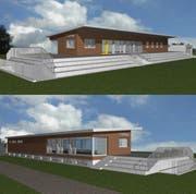 So könnte das Clubhaus des FC Grosswangen künftig aussehen. (Bild: Visualisierung PD)