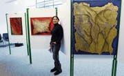 Roshi Khalilians Werke sind derzeit im Menzinger Rathaus zu sehen. (Bild: Werner Schelbert (3. März 2018))