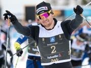 Konnte schon früh jubeln: Roman Furger gewann den Engadiner zum 3. Mal (Bild: KEYSTONE/PETER SCHNEIDER)