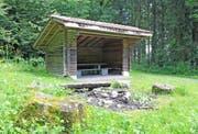 Auf einer Lichtung im Chalchtarewald befindet sich mein Lieblingsplatz, ein Unterstand mit Feuerstelle.