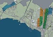 Die Zonen des Hochhausreglements. Blau: bis 50 Meter; Orange: bis 60 Meter; Grün: 60 Meter/punktuell 80 Meter. (Bild: PD)