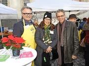 Silvia Glaus (Schweizer Tafel) begrüsste Stadtpräsident Stefan Roth und VBL-Direktor Norbert Schmassmann. (Bild: Mario Merola)