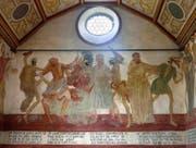 In der Totenkapelle, errichtet um 1661, ist ein qualitativ hochstehender Totentanz zu sehen. Der Künstler ist unbekannt. Bild: Nadia Schärli (Wolhusen, 15. September 2016)