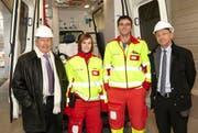 Die neue Notfallaufnahme des LUKS Sursee wurde eröffnet. Rechts Dr. med. Markus Wietlisbach, Departementsleiter LUKS Sursee und links Dr. med. Beat Villiger, Spitalratspräsident. (Bild: PD)