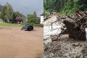 Strassen in Obernau sind überflutet, die Strasse ins Eigenthal ist verschüttet. (Bilder: Leserreporter Pascal Lustenberger / René Meier, luzernerzeitung.ch)