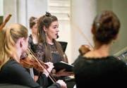 Musikerinnen des Ensembles Accademia Barocca Lucernensis beim Auftritt in der Matthäuskirche. (Bild: Ingo Höhn (Luzern, 19. November 2017))