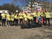 Schüler des Schulhauses Utenberg haben Ende März eine Vierteltonne Müll gesammelt. (Bild: Schulhaus Utenberg)