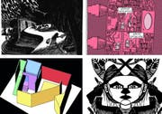 Werke von Lorenzo Mattotti, Tom Gauld, Caroline Sury und Seico (von oben links im Uhrzeigersinn) sind am Fumetto 2016 in Luzern zu sehen. (Bilder Fumetto)