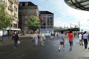 Die Metro soll Passagiere direkt vom Ibach unter den Schwanenplatz in der Stadt Luzern befördern. (Bild: Visualisierung PD)