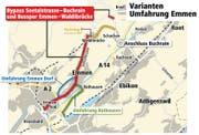 So sehen die Varianten für die Umfahrung Emmen aus. (Bild: Quelle: Maps4news.com/navteq, Grafik: jn/ls)