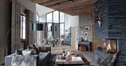Blick in eine Wohnung des Apartementhauses Alpenrose. (Bild: Visualisierung: Andermatt Swiss Alps)