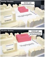 Ein Modell des Kantons zeigt, was es bedeuten würde, wenn am Standort der heutigen ZHB für einen Neubau die Baulinien und die Bauhöhe bis zum Maximum ausgereizt würden. (Bild: Neue LZ)
