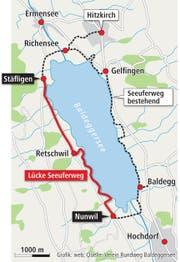 Noch klafft eine grosse Lücke im Weg um den See. (Bild: Grafik: web, Quelle: Verein Rundumweg Baldeggersee)