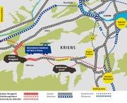 Verkehrsgrossprojekte - drei Vorschläge für Kriens. (Bild: Grafik: Lea Siegwart)