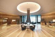 Die Réception des Bürgenstock-Hotels. Das Fünf-Sterne-Hotel wurde am Donnerstag eröffnet. (Bild: Eveline Beerkircher (Luzerner Zeitung))