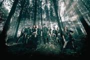 Die Folk-Metal-Band Eluveitie mit Sänger Chrigel Glanzmann (Bildmitte). (Bild: PD)