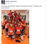 Jakob Jantscher feiert mit Österreichs National-Elf. (Bild: Screenshot Facebook)