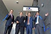 Holger Rommel (COO), René Janesch (CEO), Daniel Wenger (CMO) und Niederlassungsleiter Oliver Felder (von links) bei der feierlichen Eröffnung der Adcubum-Niederlassung in Luzern. (Bild: Dominik Wunderli / Neue LZ)