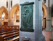 Die kunstvolle Gedenktafel mit Relief und Widmungsinschrift in der Oswaldkirche hat der Neffe des Geehrten im Jahre 1930 anfertigen lassen. Die Tafel ist am vorderen Pfeiler im rechten Seitenschiff angebracht.