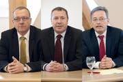 Sie treten zum zweiten Wahlgang im Kanton Nidwalden an: Alfred Bossard, FDP, 7347 Stimmen im ersten Wahlgang; Othmar Filliger, CVP, 7293 Stimmen und Conrad Wagner, Grüne, 5203 Stimmen. (Bilder Corinne Glanzmann / Neue NZ)
