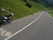 Ein Motorradfahrer verletzte sich in Wassen bei einem Selbstunfall. (Bild: Urner Polizei)