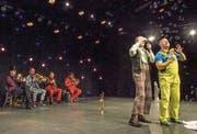 Mnozil Brass – die Überflieger der ersten Hälfte des Aroser Humorfestivals: schräge Blasmusik, angereichert mit teils umwerfenden Kabaretteinlagen. (Bild: Peter Hummel)