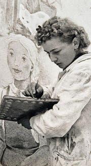 Annemarie von Matt beim Malen um 1940. (Bild: Nidwaldner Museum)