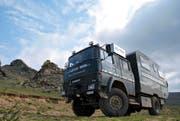 Lukas Achermann auf Erkundungstour durch Sibirien in seinem für Touristen umgebauten Lastwagen.Bild: PD (Sibirien, August 2016)