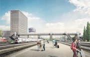 So soll die Personenüberführung beim Bahnhof Rotkreuz dereinst aussehen. (Bild: Visualisierung/ PD)
