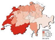 Arbeitslosenquote nach Kantonen im März 2016. (Bild: Grafik Seco)