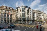 So sieht die neue Fassade am Schweizerhofquai aus. (Bild: Visualisierung Studio 12 / Andreas Rigert + Patrik Bisang Architekten AG)