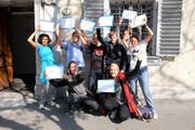 Initianten bei der Einreichung der Vegan-Initiative. (Bild: PD (Luzern, 26. September 2016))