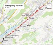 Die Buslinie 1 soll ab 2019 direkt zur Endstation Fildern in Ebikon führen.