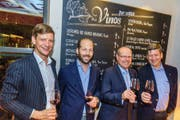 Feierten die Neueröffnung des «Boleros» mit: Mike Hauser, Alessandro Pedrazzetti, Arno Affolter und Patrik Hauser. (Bild: Heinz Steimann)