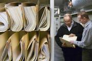Mühselige Aktenberge: Der steigende Aufwand wegen Gesetzen und Vorschriften macht Firmen zu schaffen. (Bild: Keystone/Gaetan Bally)