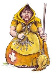 Post-Chefin Susanne Ruoff wird als Hexe dargestellt. (Bild: PD/Urs Krähenbühl)