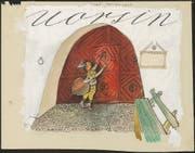 Entwurf des Titelblattes von «Schellen-Ursli» fur die rätoromanische Ausgabe. (Bild: Alois Carigiet Erben)