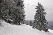 Hier führt der Skilift über die Strasse. (Bild: Maria Schmid (25. Januar 2017))
